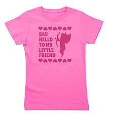 Pink Heart Cupid Little Friend Valentin Girl's Tee
