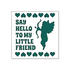 "Blue Heart Cupid Little Fri Square Sticker 3"" x 3"""