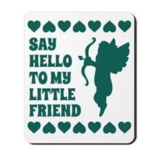 Blue Heart Cupid Little Friend Valentine Mousepad