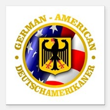 "German-American Square Car Magnet 3"" x 3"""