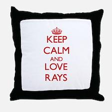 Keep calm and love Rays Throw Pillow
