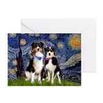 Starry/2 Aussies (scarves) Greeting Cards (Pk of 1