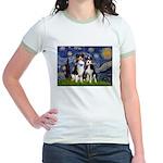 Starry/2 Aussies (scarves) Jr. Ringer T-Shirt