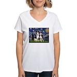Starry/2 Aussies (scarves) Women's V-Neck T-Shirt