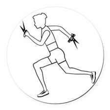 Running with Scissors Round Car Magnet