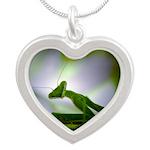 Praying Mantis Silver Heart Necklace