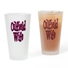 Oilfield Wife Pink Damask Drinking Glass