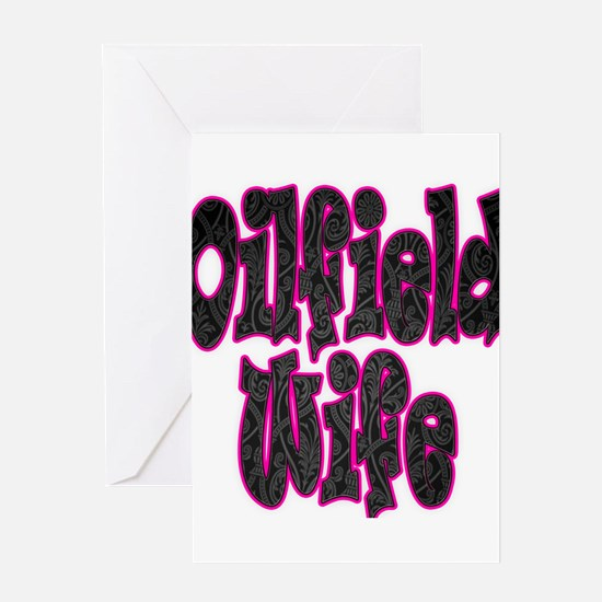 Pink Oilfield Wife Damask Greeting Cards