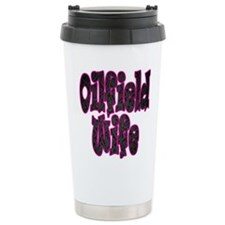 Pink Oilfield Wife Damask Travel Mug