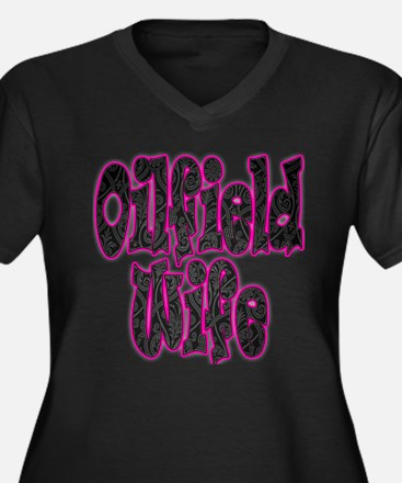Pink Oilfield Wife Damask Plus Size T-Shirt