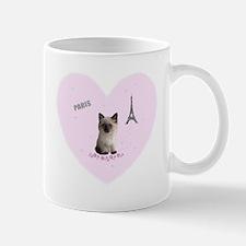 Fifi the Kitten in Paris on a Pink Heart Mugs