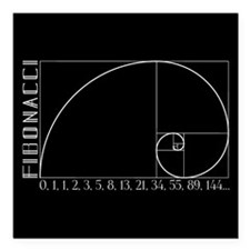 "Fibonacci Spiral Square Car Magnet 3"" x 3"""