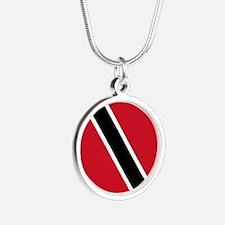 Trinidad Tobago Flag Silver Round Necklace