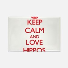 Keep calm and love Hippos Magnets