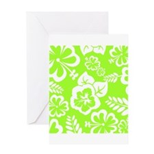 Lime Green Tropical Flowers Greeting Cards