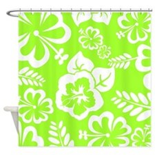 Lime Green Tropical Flowers Shower Curtain