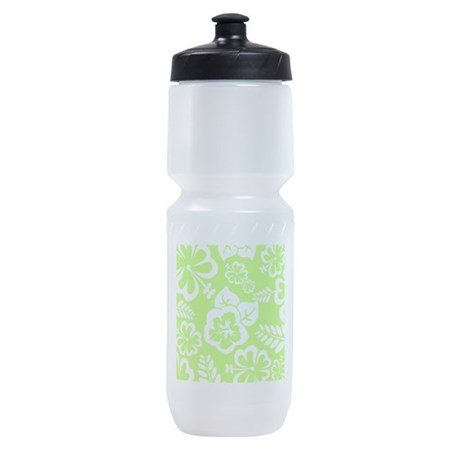 Lime Green Tropical Flowers Sports Bottle
