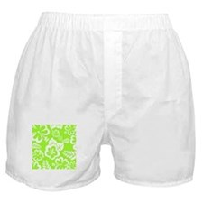 Lime Green Tropical Flowers Boxer Shorts
