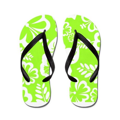 Lime Green Tropical Flowers Flip Flops