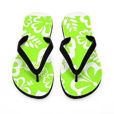 Lime Green Tropical Flowers Flip Flops