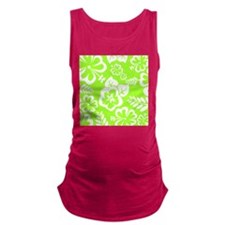 Lime Green Tropical Flowers Maternity Tank Top