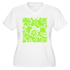 Lime Green Tropical Flowers Plus Size T-Shirt