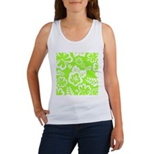 Lime Green Tropical Flowers Tank Top