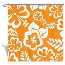 Orange tropical flowers Shower Curtain