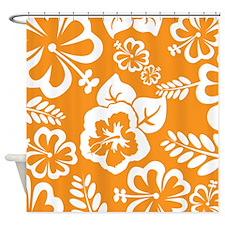 Orange tropical flowers Shower Curtain
