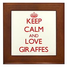 Keep calm and love Giraffes Framed Tile