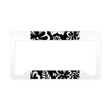 Black and white tropical flowers License Plate Hol