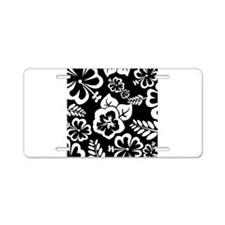 Black and white tropical flowers Aluminum License