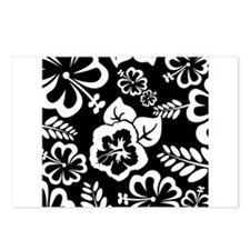 Black and white tropical flowers Postcards (Packag