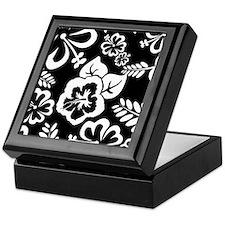 Black and white tropical flowers Keepsake Box