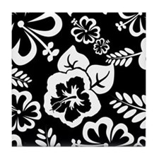 Black and white tropical flowers Tile Coaster