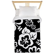 Black and white tropical flowers Twin Duvet