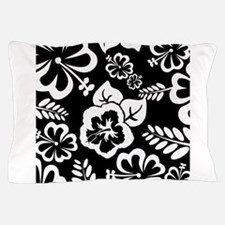 Black and white tropical flowers Pillow Case
