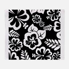 Black and white tropical flowers Throw Blanket