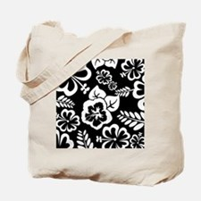 Black and white tropical flowers Tote Bag
