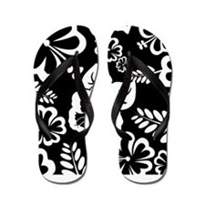 Black and white tropical flowers Flip Flops