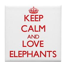 Keep calm and love Elephants Tile Coaster