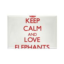 Keep calm and love Elephants Magnets