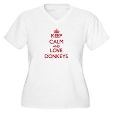 Keep calm and love Donkeys Plus Size T-Shirt