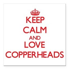 Keep calm and love Copperheads Square Car Magnet 3