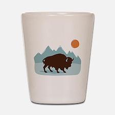 Buffalo Mountains Shot Glass