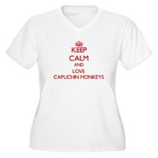 Keep calm and love Capuchin Monkeys Plus Size T-Sh