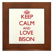 Keep calm and love Bison Framed Tile