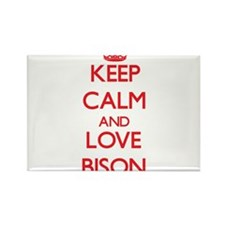 Keep calm and love Bison Magnets