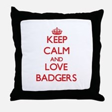 Keep calm and love Badgers Throw Pillow