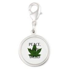 Peace, Love, and Weed Silver Round Charm